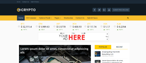Amazing WordPress Themes for Crypto Currency: Crypto