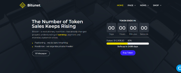 Amazing WordPress Themes for Crypto Currency: Bitunet