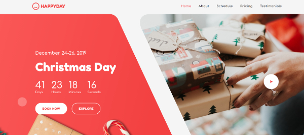 Creative Seasonal HTML Landing Pages: 2. HappyDay - Christmas Themed Event Landing Page Template: