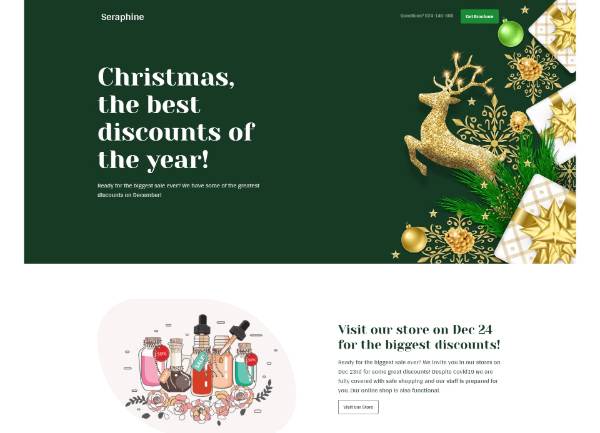 Creative Seasonal HTML Landing Pages: Seraphine- Bundle of 4 HTML Christmas Landing Pages