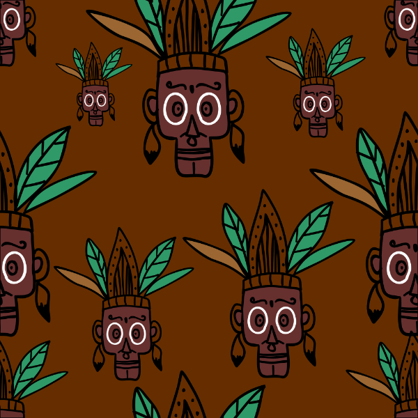 Free Backgrounds With Tribal Feel: Hand Drawn Face