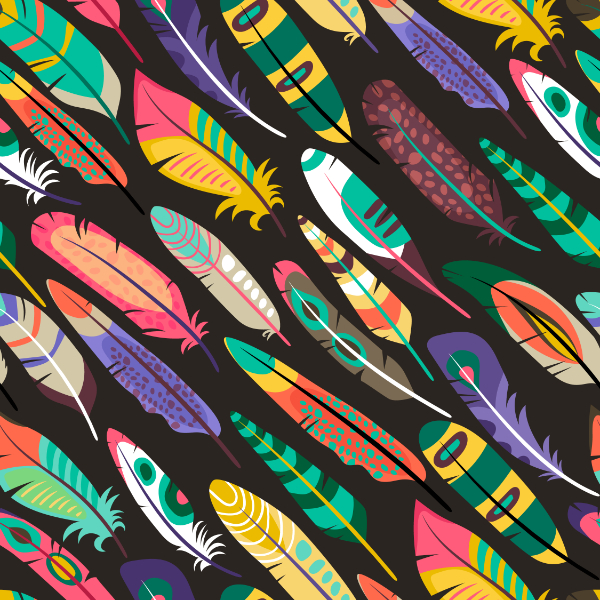 Free Backgrounds With Tribal Feel: Colorful Feathers
