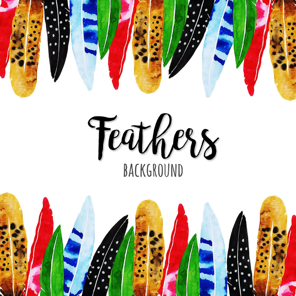 Free Backgrounds With Tribal Feel: Vibrant Feathers