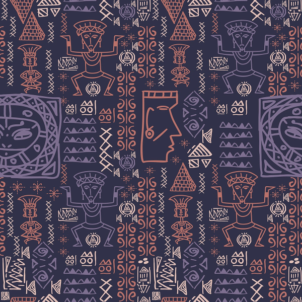 Free Backgrounds With Tribal Feel: HAnddrawn Aztec