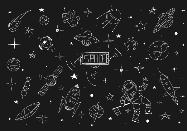 Creative Doodle Backgrounds for Designers: Space Set