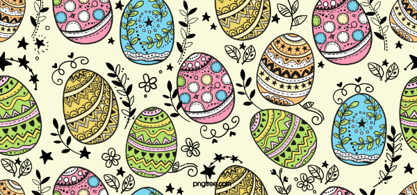 Creative Doodle Backgrounds for Designers: Easter Eggs Doodle