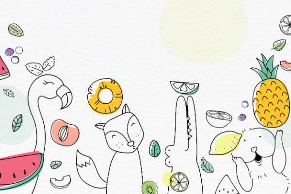 Creative Doodle Backgrounds for Designers: Cute Fruits