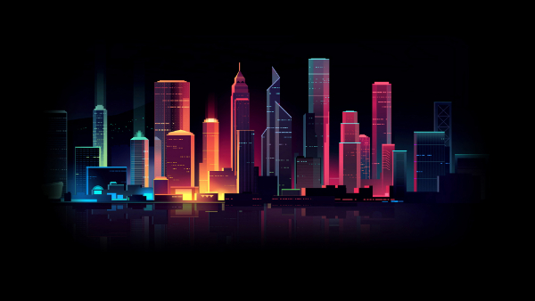 Free Surreal Backgrounds for Designers: Colorful Nightscape
