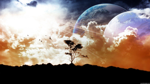 Free Surreal Backgrounds for Designers: Landscape with Space