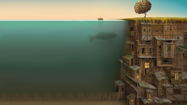 Free Surreal Backgrounds for Designers: Underwater Village