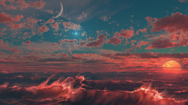 Free Surreal Backgrounds for Designers: Magical Sunset