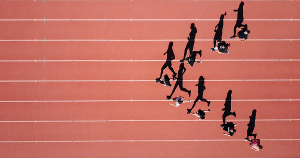 Free Amazing Sports Backgrounds for Designers: Top Shot of Athletes Running