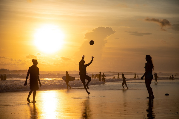 Free Amazing Sports Backgrounds for Designers: Beach Volleyball in Sunset