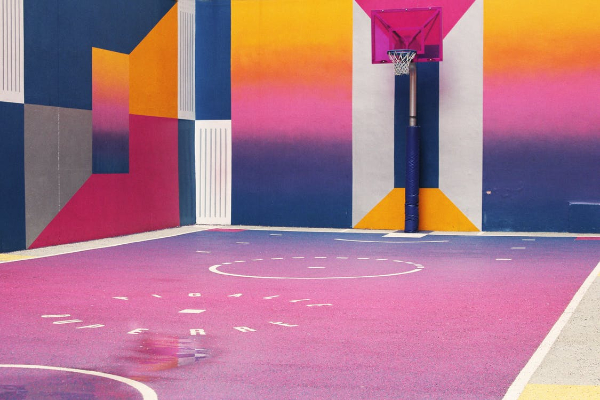 Free Amazing Sports Backgrounds for Designers: Vibrant Color Basketball Court