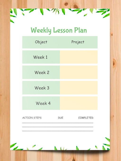 Weekly Lesson Plan – free Google Docs template