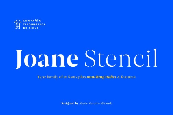 Modern Didone Fonts for your collection: Joane Stencil